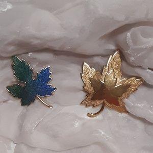 VTG 2 For 1 Leaf Brooches Monet